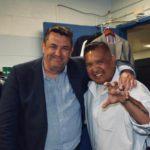 Thriller writer J.B. Turner with Detective Roman Ilustre, NYPD 19th Precinct, New York City, July 2018